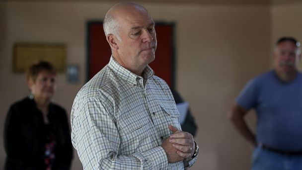 PHOTO: Republican congressional candidate Greg Gianforte pauses as he speaks to supporters during a campaign meet and greet at Lions Park on May 23, 2017 in Great Falls, Mont.