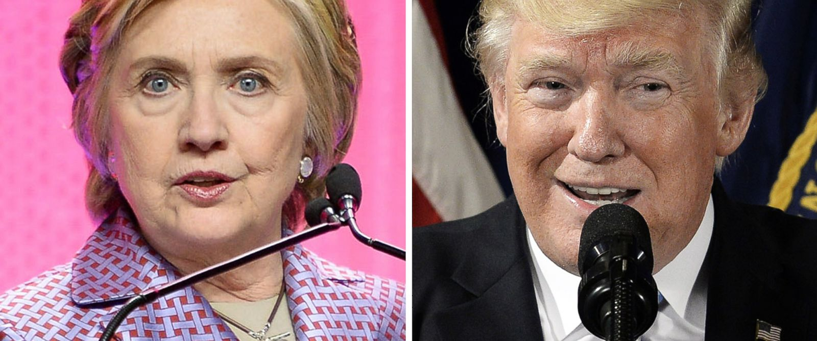 PHOTO: Hillary Clinton speaks on May 2, 2017 in New York and Donald Trump speaks on April 27 in Washington.