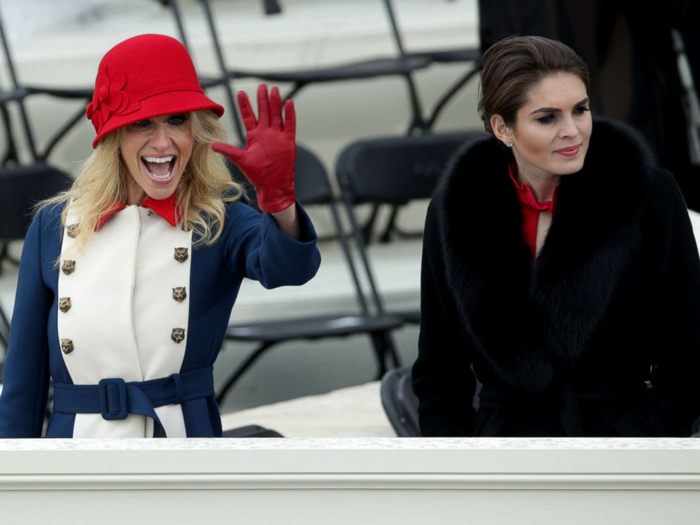 PHOTO: Trump advisers Kellyanne Conway and Hope Hicks look on, Jan. 20, 2017, in Washington, DC.