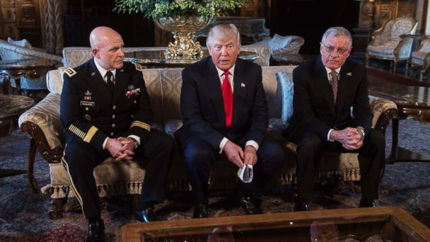 PHOTO: President Donald Trump announces H.R. McMaster as his national security adviser and Keith Kellogg, right, as McMaster's chief of staff at Trump's Mar-a-Lago resort in Palm Beach, Fla., Feb. 20, 2017.