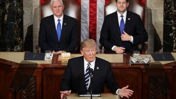 PHOTO: President Donald Trump addresses a joint session of the U.S. Congress as Vice President Mike Penceand House Speaker Rep. Paul Ryan look on on Feb. 28, 2017 in Washington, DC.