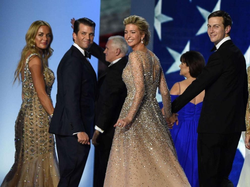 PHOTO: Vanessa and Donald Trump Jr, Ivanka Trump and Jared Kushner salute the crowd after dancing on stage during the Freedom ball at the Walter E. Washington Convention Center, Jan. 20, 2017, in Washington, D.C.