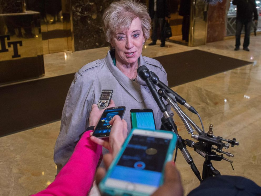 PHOTO: Former Republican Party Senate candidate Linda McMahon speaks to the media at Trump Tower in New York City, Nov. 30, 2016.
