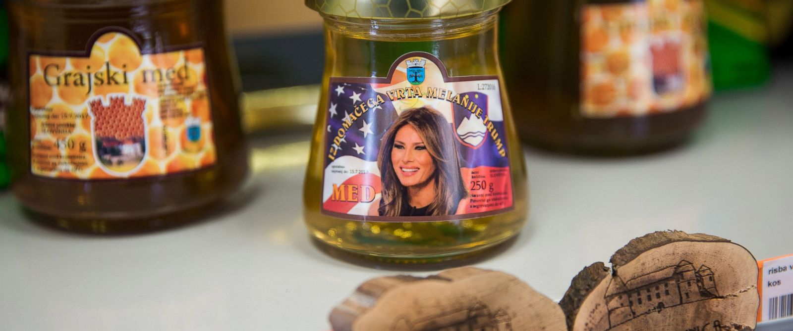 PHOTO: Melania Trump-themed Sevnica honey on display at a tourist information center and shop, Nov. 29, 2016 in Sevnica, Slovenia.