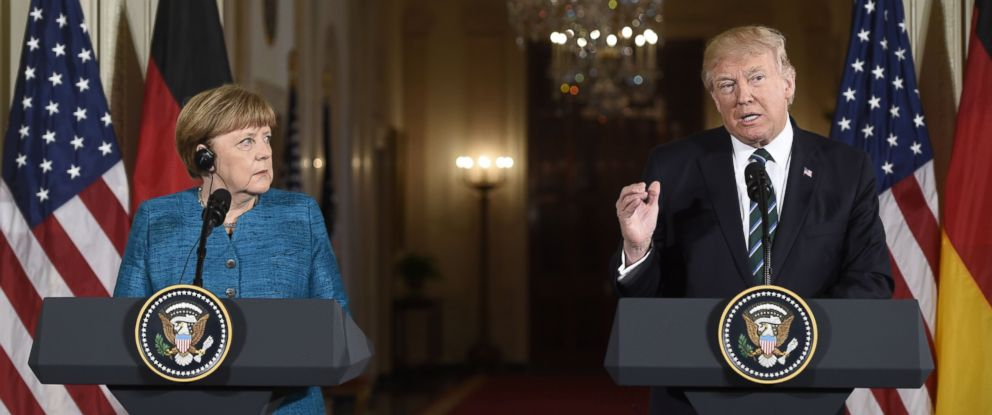 PHOTO: German Chancellor Angela Merkel and President Donald Trump hold a joint press conference in the East Room of the White House, March 17, 2017.