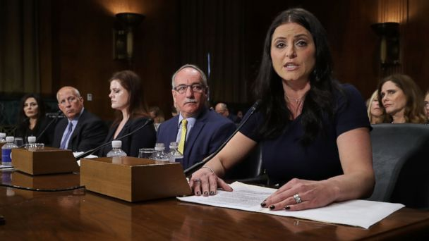 PHOTO: 1996 Olympic Gold Medalist Dominique Moceanu (R) testifies before the Senate Judiciary Committee on Capitol Hill, March 28, 2017, during a hearing about sexual, emotional and physical abuse by USA Gymnastics officials.