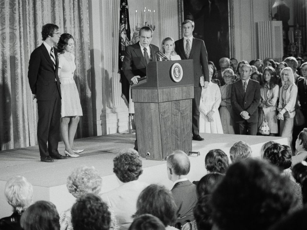PHOTO: President Richard Nixon says an emotional farewell to members of his cabinet and staff in the East room of the White House, Aug. 9, 1974, before his departure after his resignation.