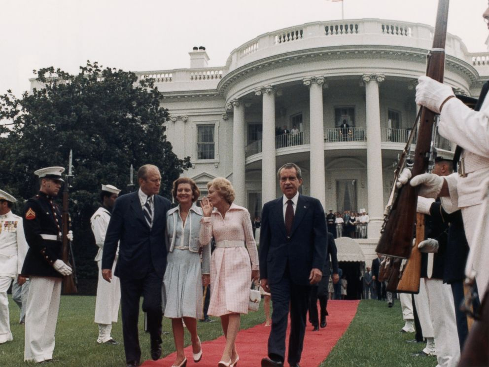 PHOTO: After resigning, President Nixon leaves the White House with his family, vice president Ford and his wife, Aug. 9, 1974.