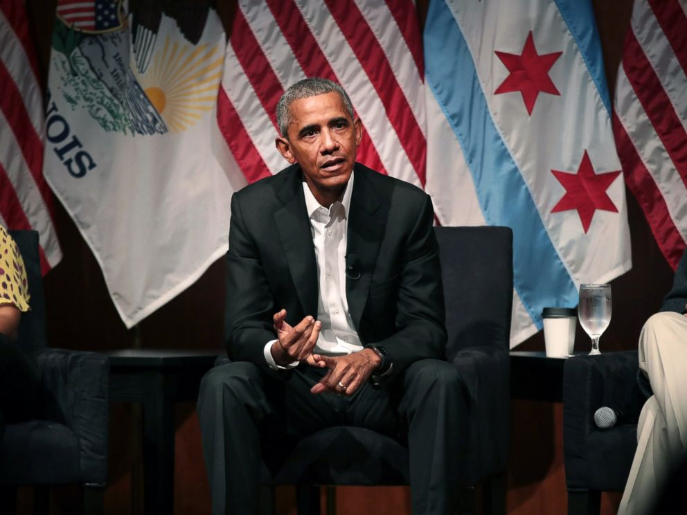PHOTO: Former President Barack Obama visits with youth leaders at the University of Chicago to help promote community organizing, April 24, 2017, in Chicago.