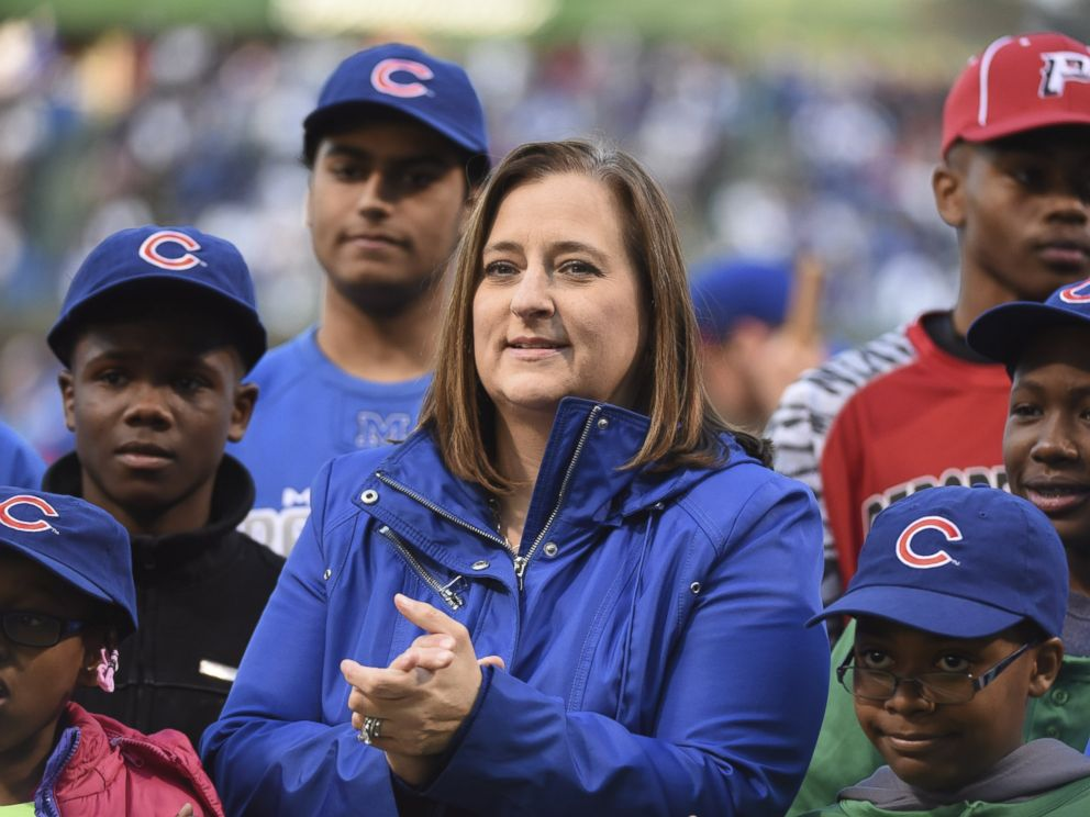 PHOTO: Laura M. Ricketts (C) co-owner of the Chicago Cubs before the game between the Chicago Cubs and the Cincinnati Reds, April 14, 2016, at Wrigley Field in Chicago.