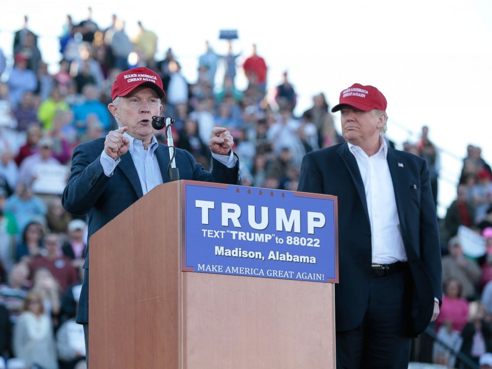 PHOTO: Senator Jeff Sessions, R-Ala., becomes the first Senator to endorse Donald Trump for President of the United States at Madison City Stadium, Feb. 28, 2016, in Madison, Ala.