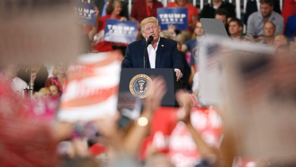 PHOTO: President Donald Trump addressed a rally at the Orlando Melbourne International Airport, Feb. 18, 2017, in Melbourne, Florida.