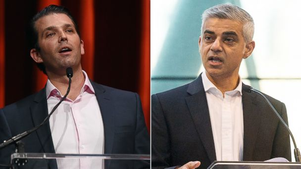 PHOTO:Donald Trump Jr. speaks at the 16th annual Outdoor Sportsman Awards, Jan. 21, 2016, in Las Vegas. London mayor Sadiq Khan makes a keynote speech at the International Zero Emission Bus Conference and Summit, Nov. 30, 2016, in London.