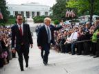 PHOTO: President Donald Trump arrives with Treasury Secretary Steven Mnuchin to the U.S. Treasury Department in Washington, D.C., April 21, 2017.