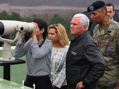 PHOTO: Vice President Mike Pence visits Observation Post Ouellette in the Demilitarized Zone (DMZ) on the border between North and South Korea with his daughters Audrey and Charlotte, and U.S. Gen. Vincent Brooks, right, April 17, 2017.
