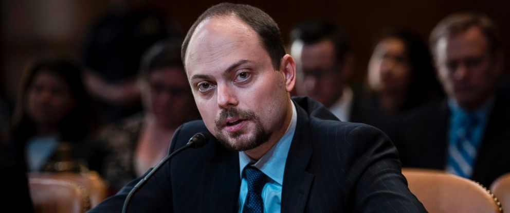 "PHOTO: Russian opposition politician Vladimir Kara-Murza testifies on Capitol Hill in Washington, March 29, 2017, before the Senate Appropriation Committee hearing on ""Civil Society Perspectives on Russia."""
