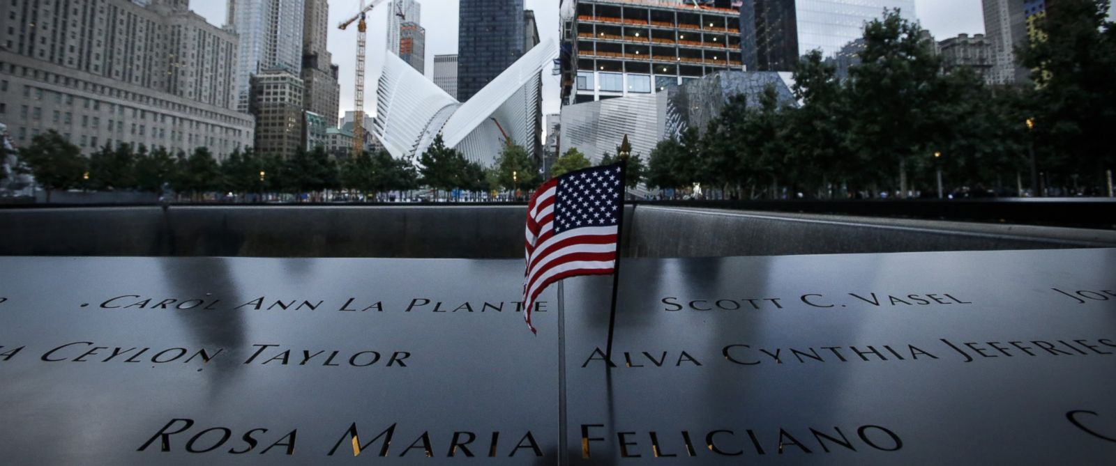 PHOTO: A U.S. flag is placed on the 9/11 memorial before the ceremony to commemorate the 14th Anniversary of the terrorist attacks on Sept. 11, 2015 in New York.