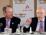 PHOTO: Senators Alan Simpson and Erskine Bowles at the St. Regis Hotel on Nov. 28, 2012.