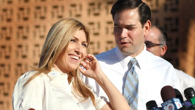 PHOTO: Jeanette Rubio, the wife of Republican Senate candidate Marco Rubio (R), speaks to the press after voting at an early voting location, Oct. 22, 2010 in Hialeah, Florida.