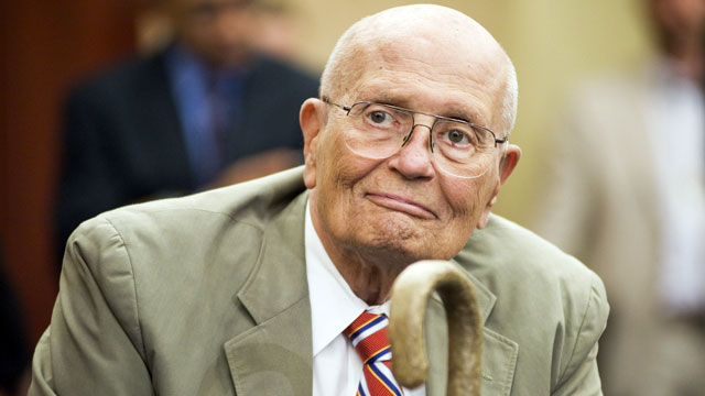 PHOTO: Rep. John Dingell, D-Mich., attends a news conference in the Capitol Visitor Center to recognize the 46th anniversary of Medicare.