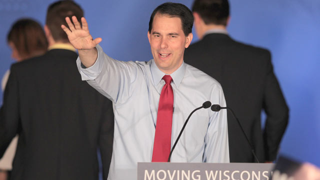 PHOTO: Wisconsin Governor Scott Walker greets supporters at an election-night rally June 5, 2012 in Waukesha, Wisconsin.