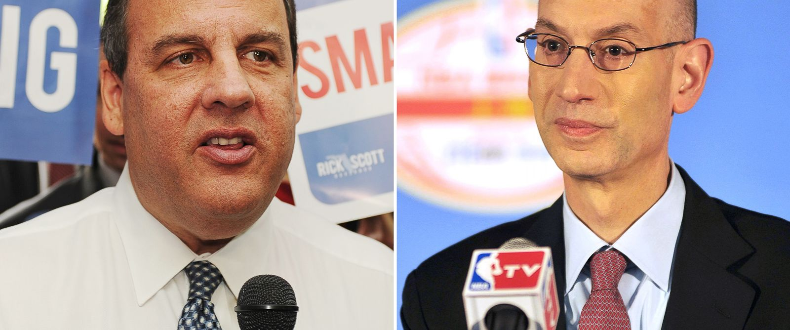 PHOTO: New Jersey Governor Chris Christie, seen left in this Oct. 8, 2014 file photo and NBA Commissioner Adam Silver, seen right in this Oct. 12, 2014 file photo.