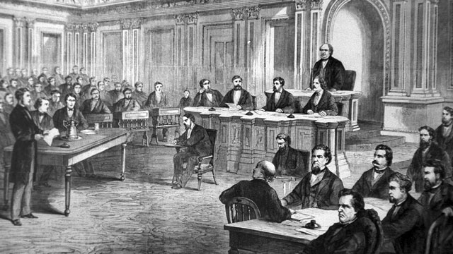 PHOTO: An engraving showing the impeachment trial of President Andrew Johnson in the Senate March 13, 1868.