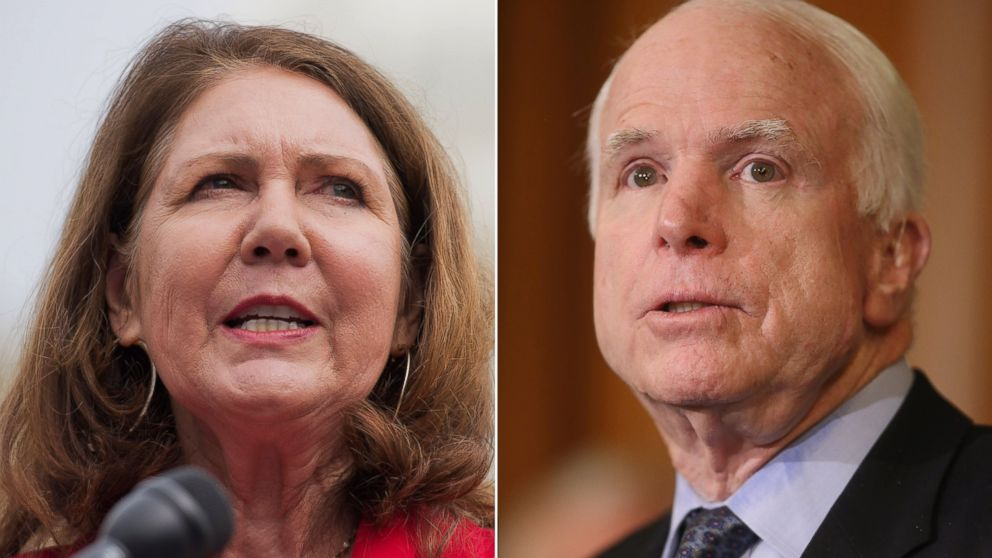 PHOTO: Representative Ann Kirkpatrick speaks during a news conference at the House Triangle in Washington, D.C. on May 7, 2014 and Senator John McCain speaks at the U.S. Capitol, Feb. 10, 2015.