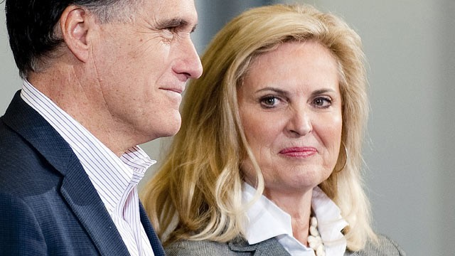 PHOTO: Republican presidential hopeful Mitt Romney, left, stands with wife Ann as they arrive to speak at a town hall, in Youngstown, Ohio, March 5, 2012.