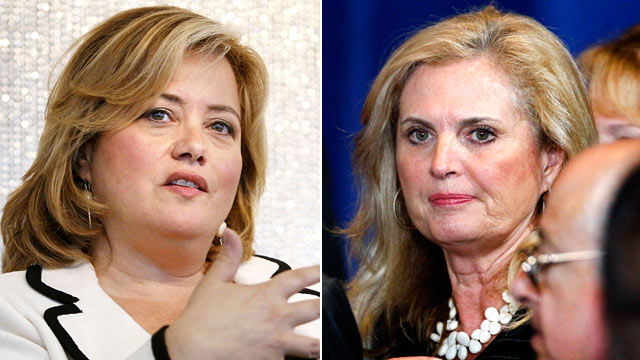 PHOTO: Political Director and Editor-at-Large of the Huffington Post.com, Hilary B. Rosen, left, and Ann Romney, are shown in these file photos.