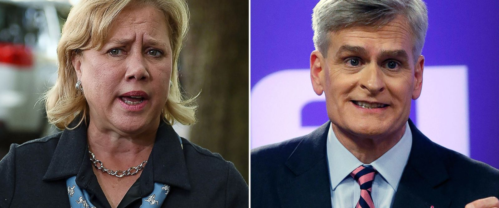 PHOTO: Mary Landrieu speaks with the media on Nov. 4, 2014 in New Orleans, La. and Bill Cassidy is seen during a debate with Landrieu on Oct. 29, 2014.