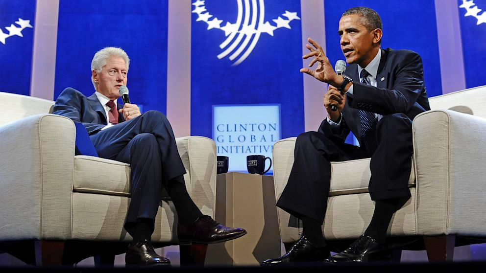PHOTO: Barack Obama and Bill Clinton