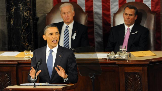 PHOTO: President Barack Obama speaks during his State of the Union address, Jan. 25, 2011.