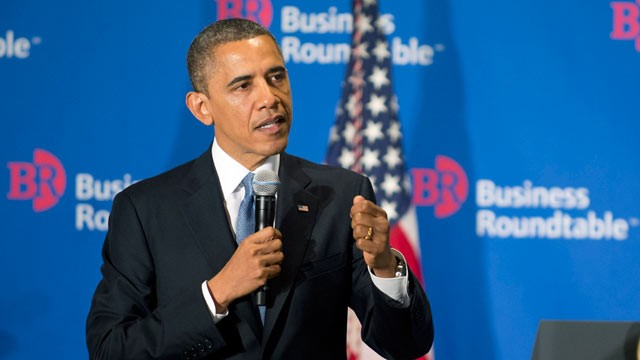 PHOTO: U.S. President Barack Obama delivers remarks to members of the Business Roundtable during a meeting at their headquarters, Dec. 5, 2012, in Washington, DC.