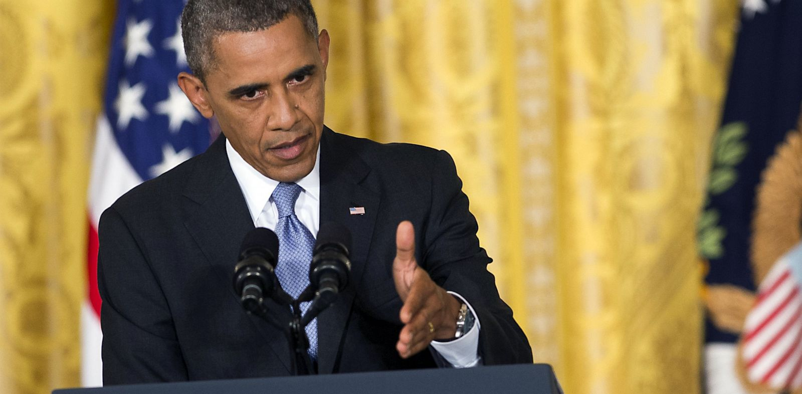 PHOTO: President Obama speaks during news conference