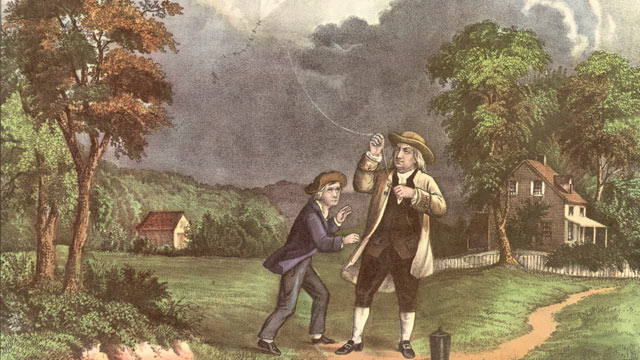 PHOTO: A Currier & Ives lithograph of Benjamin Franklin and his son William using a kite and key during a storm to prove that lightning was