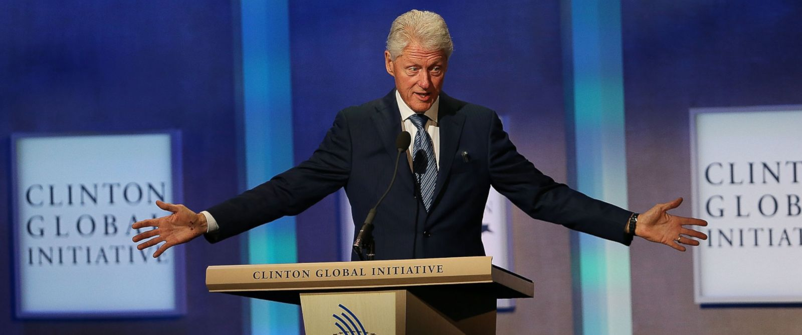 PHOTO: Former U.S. President Bill Clinton opens the annual Clinton Global Initiative (CGI) meeting on September 27, 2015 in New York City.