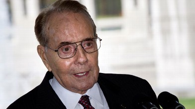 PHOTO: Senator Bob Dole speaks during an event at the World War II Memorial in this April 12, 2011 filephoto in Washington, DC.