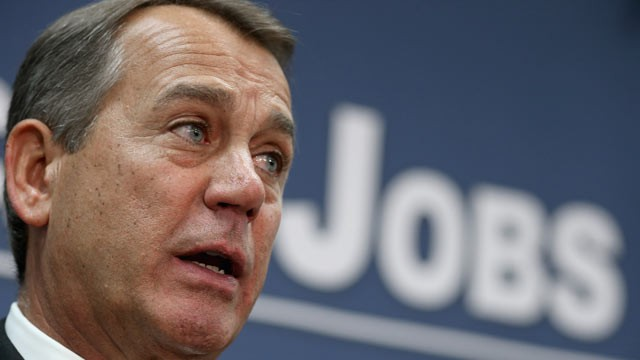 PHOTO: Speaker of the House John Boehner talks with reporters after the weekly House GOP caucus meeting at the U.S. Capitol, Dec. 12, 2012, in Washington.