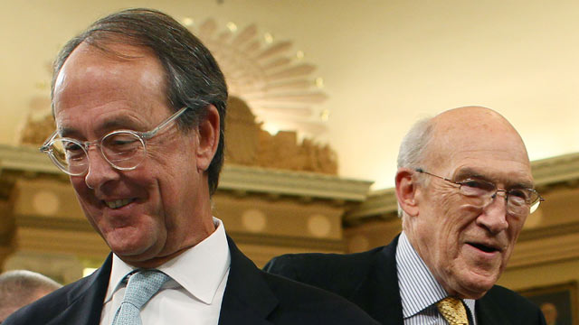 PHOTO: Co-chairmen of the National Commission on Fiscal Responsibility and Reform, Erskine Bowles, left, and former Sen. Alan Simpson, (R-WY) right, participate in a Join
