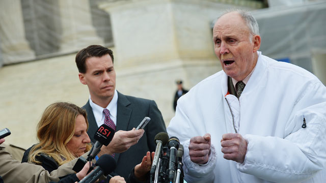 PHOTO: Indiana grain farmer Vernon Hugh Bowman speaks to reporters outside of the U.S. Supreme Court on Feb. 19, 2013 in Washington, D.C.