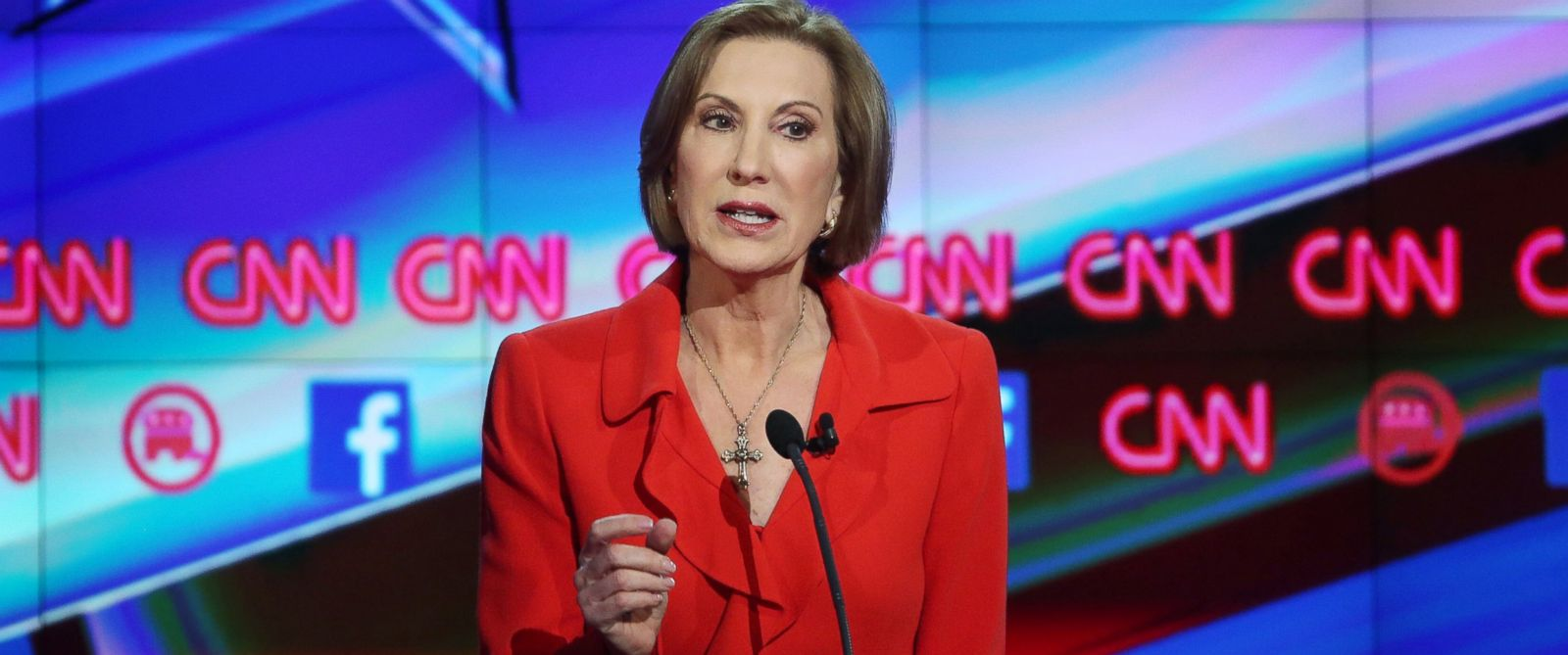 PHOTO: Republican presidential candidate Carly Fiorina speaks during the CNN Republican presidential debate on Dec. 15, 2015 in Las Vegas.
