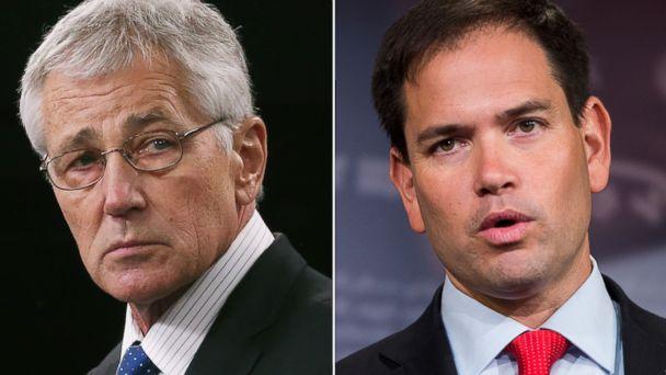 gty chuck hagel marco rubio split jc 140509t 16x9 608 Sunday: Defense Secretary Chuck Hagel, Sen. Marco Rubio