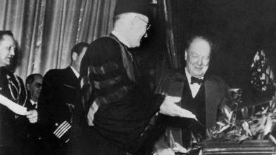 PHOTO: U.S. President Harry S. Truman (1884 - 1972) introduces his guest speaker, British statesman Winston Churchill (1874 - 1965), at Westminster College Fulton, Missouri. Churchill went on to make his famous 'Iron Curtain' speech, March 5, 1946.