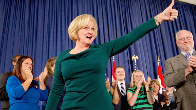 PHOTO: Sen. Claire McCaskill, D-Mo., greets supporters during an election night party Nov. 6, 2012 in St. Louis, Mo.