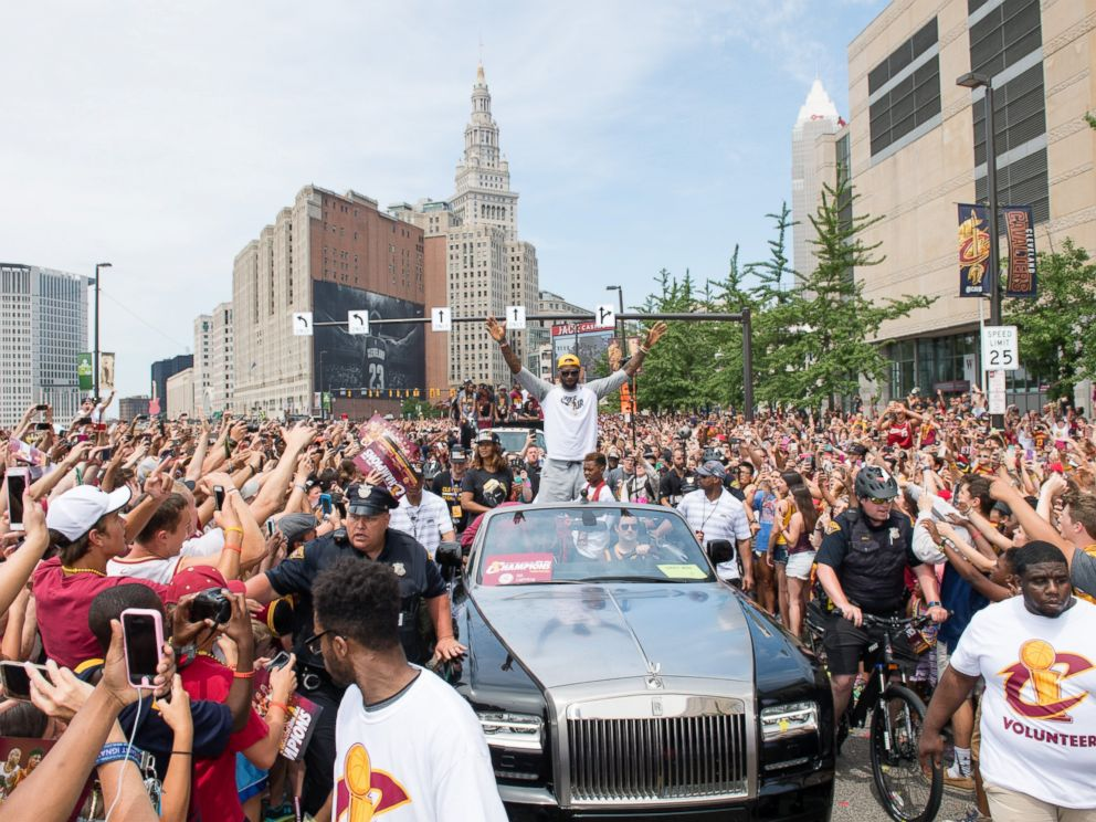 PHOTO: LeBron James of the Cleveland Cavaliers celebrates during the Cleveland Cavaliers 2016 championship victory parade and rally on June 22, 2016 in Cleveland, Ohio.
