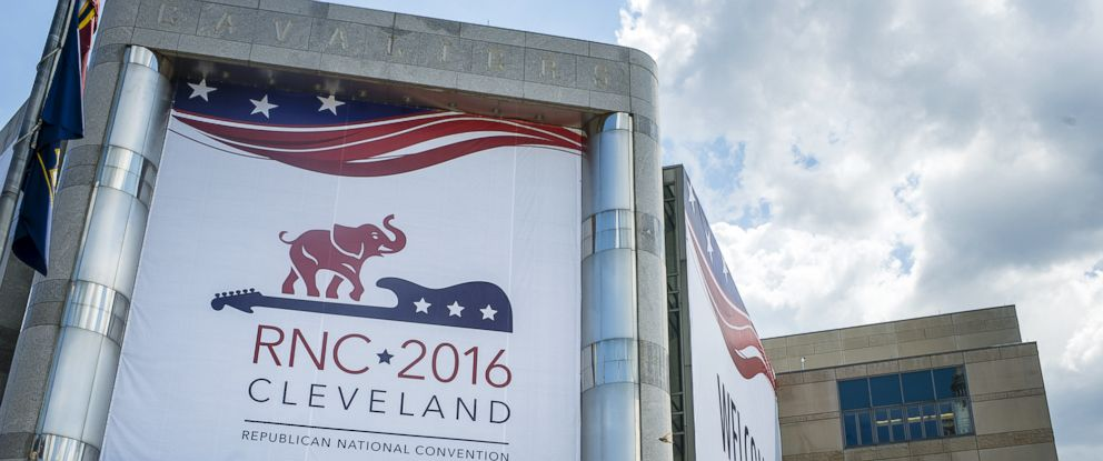 PHOTO: Quicken Loans Arena is decorated to welcome the Republican National Convention on July 11, 2016 in Cleveland, Ohio. The convention will be held at the arena July 18-21, 2016.