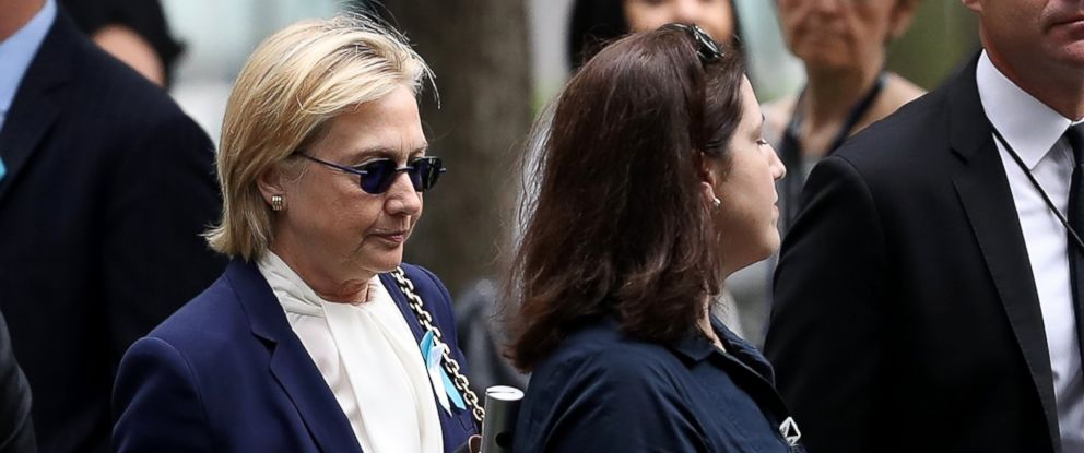 PHOTO: Hillary Clinton arrives at the September 11 Commemoration Ceremony at the National September 11 Memorial & Museum, Sept. 11, 2016, in New York.