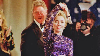 PHOTO: President Bill Clinton (L) twirls First Lady Hillary Clinton during an onstage dance Jan. 20, 1993 as they stopped by the Arkansas inaugural ball in Washington, D.C.