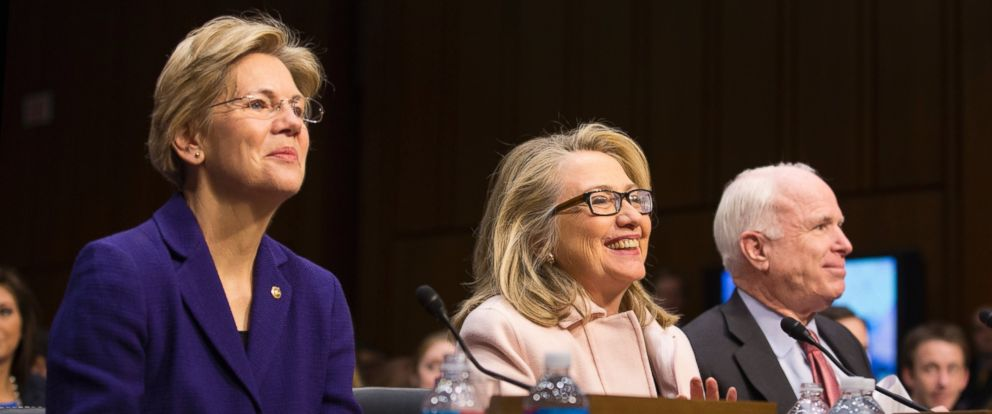 PHOTO: Hillary Clinton sits between John McCain, right, and Elizabeth Warren on Capitol Hill in Washington, during the committees confirmation hearing for committee chairman Sen. John Kerry, Jan. 24, 2013.